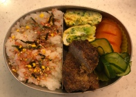 hamburg steak with omelet bento